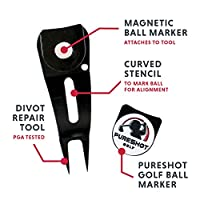 5-in-1 Golf Divot Repair Tool | Golf Ball Line Stencil for Putting Alignment | Magnetic Ball Marker | Golf Club Groove Cleaner | Golf Club Rest