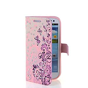 SHOPPINGBOX Floral Rhinestone Series Flip Cover Leather Wallet Pouch Stand Case For Samsung Galaxy S3 iii I9300