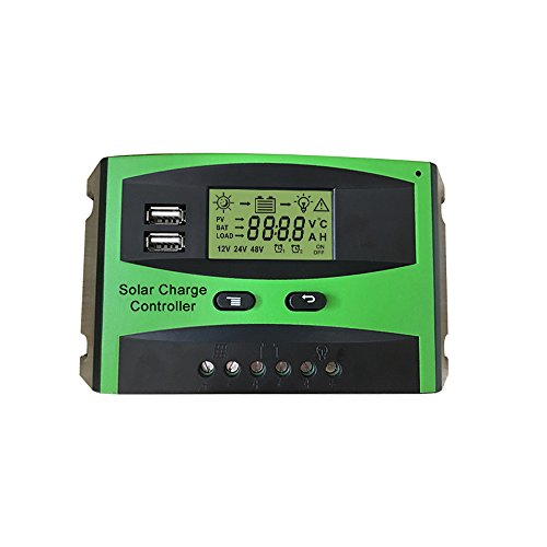 Jindowine Solar Charge Controller 12V/24V 20A/30A Solar Panel Battery Intelligent Regulator with Dual USB Port PWM LCD Display (20A) by Jindowine