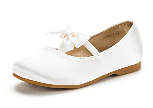 DREAM PAIRS SOPHIA-22 Adorables Mary Jane Front Bow Elastic Strap Ballerina Flat Little Girl New Ivory Big Kid Size4
