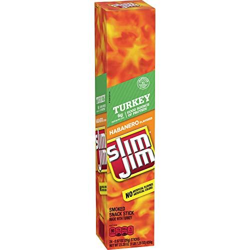 Slim Jim Turkey Snack-Sized Smoked Meat Stick, Habanero Flavor, .97 Oz. 24-Count
