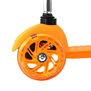 Orange Kids Kick Scooter 3 Wheel Lean To Steer Adjustable Height T-Bar Ride On LED Wheels Up To 85 LB Age 3+