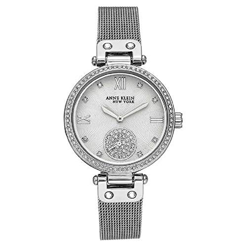Anne Klein New York Silver-Tone Mesh Ladies Watch with Swarovski Crystals ()