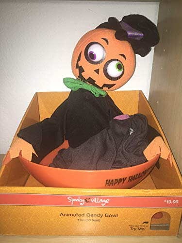 12 Inch Animated Purple Witch Plush Candy Bowl - Halloween Phrases and Sounds -