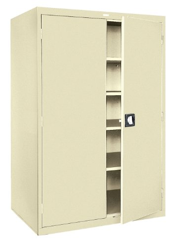 Sandusky Lee KDE7848-07 Putty Steel Powder Coat SnapIt Storage Cabinet, Keyless Electronic Coded Lock, 4 Adjustable Shelves, 78