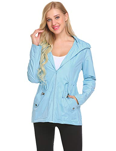(ZHENWEI Anorak Raincoat Women Solid Shell Waterfall Jacket Light Blue Large)
