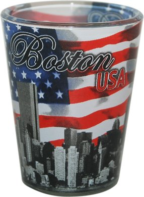 Boston Skyline Wrapped in American Flag Souvenir Shot Glass