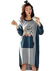 Pijamas de las señoras, pijamas impresos de las mujeres ocasionales, algodón dulce de la historieta de manga larga pijama de algodón Servicio de grandes bolsas de gran tamaño floja suave camisón