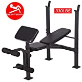 BestMassage Adjustable Weight Bench Workout Bench for Full Body Exercise Olympic Weight Bench with Squat Rack Stand Black