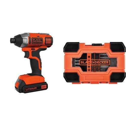 Black & Decker LDX120C 20-Volt MAX Lithium-Ion Cordless Drill/Driver w/ Impact Ready Screwdriving Set