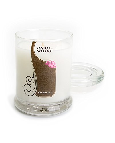 Pure Sandalwood Candle - 6.5 Oz. Highly Scented White Jar Candle - Earth Candles - Candle Sandalwood Round