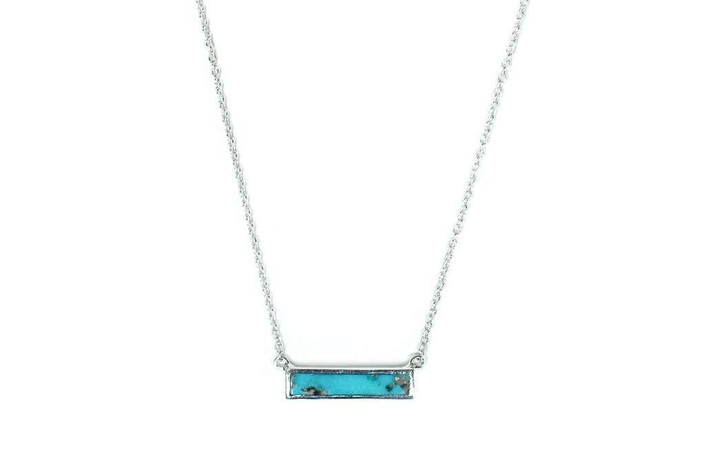 Pura Vida Turquoise Bar Necklace - w/Semi Precious Stone.925 Sterling Silver - 18'' Chain Length