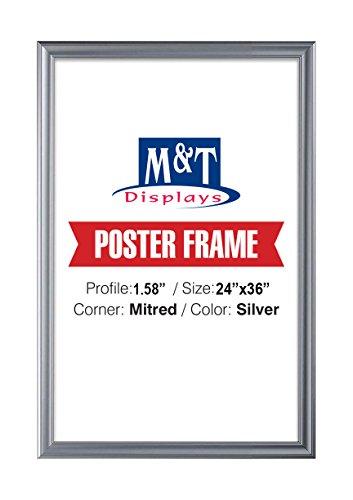 DisplaysMarket Snap Frame 24X36 Poster Size, 1.58'' Silver, Mitred Corner, Front Loading, Professional by DisplaysMarket