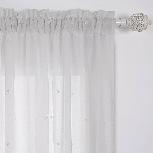 Deconovo Sheer White Curtains Sheer Window Curtains Little Star Embroideried Gauze Curtain