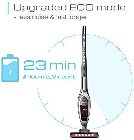 ROOMIE TEC Cordless Vacuum Cleaner, 2 in 1 Handheld Vacuum, High-Power 2200mAh Li-ion Rechargeable Battery, with Corner Lighting and Upright Charging Base