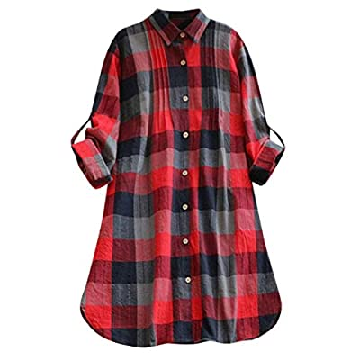 Franterd Dress Women Retro Plaid Oversized Loose Long Shirt Button Dresses with Pockets (S-XXL)