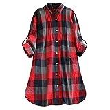 Franterd Dress Women Retro Plaid Oversized Loose Long Shirt Button Dresses with Pockets (S-XXL)