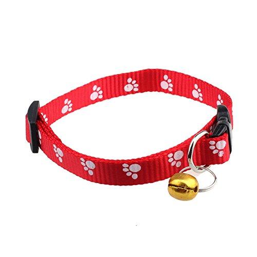 Collier chien, Réglable collier en nylon Footprints chien Puppy Pet Colliers sorcière cloche (30cm*1cm, Rouge)