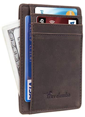Travelambo Front Pocket Minimalist Leather Slim Wallet RFID Blocking Medium Size(02 crazy horse coffee)