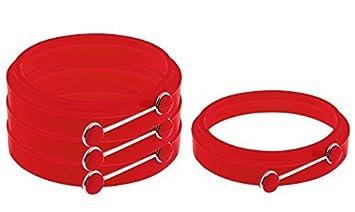 Scatola da 4 Stampi Antiaderenti ad Anello di colore Rosso per cuocere le Uova Esclusivi Anelli in Silicone per Uova Stampi Pancake da YumYum Utensils