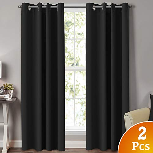 100% Blackout Extra Long Curtains for Patio Door Thermal Insulated Blackout Window Treatment Panels for Sliding Glass Door Energy Saving Curain Draperis, Set of 2, 52 by 108 Inch, Black (Best Blackout Window Treatments)