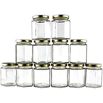 6-Ounce Hexagon Glass Jars (12-Pack); Empty Hex Jars w/ Gold Lids for Party Favors, Jams, Samples & More