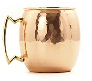 Old Dutch Nickel-Lined Solid Copper Hammered Moscow Mule Mug, 16 Oz.