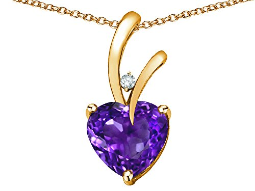 (Star K Heart Shape 8mm Genuine Amethyst Endless Love Pendant Necklace 10 kt Yellow Gold)