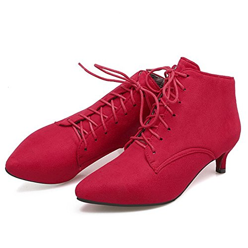 Faux QZUnique Sexy Women Up Booties Red Suede Heel Ankle Pointy Boots Lace Stilettos Low Toe Martin qSXTSwrxtc