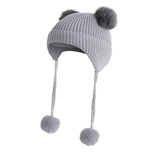 Fineser Boys Girls Beanie Hats Children Baggy Warm Crochet Wool Knit Ski Beanie Slouchy Caps Hat With Earflap Winter Hat (Gray)