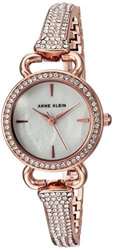 (Anne Klein Women's AK/2816MPRG Swarovski Crystal Accented Rose Gold-Tone Bangle Watch)