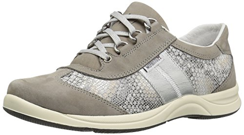 Mephisto Women's Laser Oxford, Light Grey Bucksoft/Sand Boa/Nickel Perl Calfskin, 6.5 M US