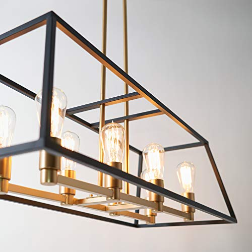 Artika CAR36-ON Rectangular 8 Pendant Light Fixture, Kitchen Island Chandelier, with a Steel Black and Gold Finish, Age Brass by Artika (Image #2)