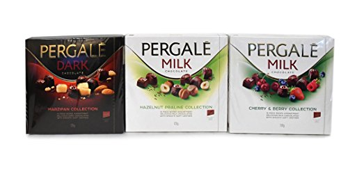 Variety Pack of Three Pergale Dark Marzipan, Milk Hazelnut Praline, and Milk Cherry & Berry (Cherry Marzipan)