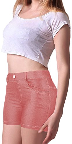Enimay Women's Fashion Summer Casual Stretchy Business Jegging Shorts Jorts Light Pink Large Jegging Short
