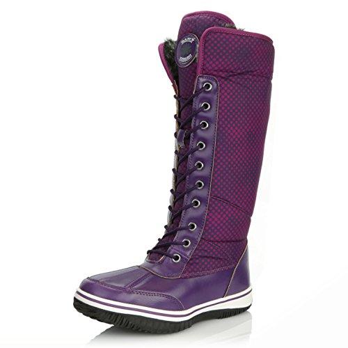 DailyShoes Women's Knee High 2-Tone Lace Up Décor Zipper Cowboy Warm Fur Water Resistant Eskimo Snow Boots, 8 -