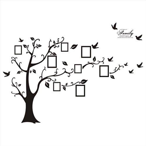 WallStickersDecal® – Adesivo da parete in PVC, rimovibile, a forma di albero con rami incurvati e cornici porta foto