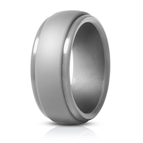 Saco Band Silicone Rings for Men - Single Rubber Wedding Bands (Light Grey, 8.5 - 9 (18.9mm)) (9 Silicone)