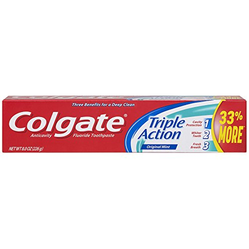 Colgate Triple Action Toothpaste, Mint – 8 ounce (Pack of 6)