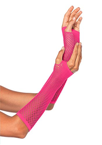 Leg Avenue Women's Triangle Net Fingerless Gloves, Neon Pink, One Size