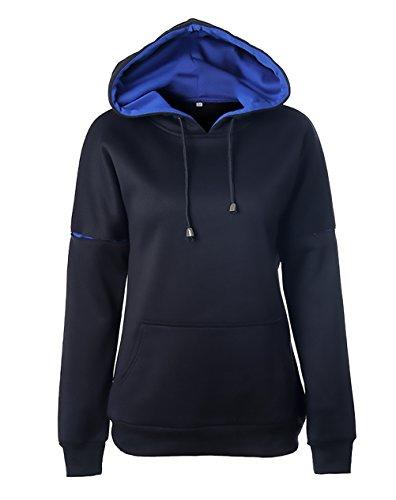 Nero Cappuccio Lunghe Eleganti Fashion Chic Felpa Donna Casual Pullover Ragazza Camicetta Autunno Invernali Maniche Baggy Abbigliamento qZFnxC5