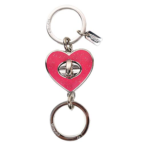 Coach Glitter Enamel Love Heart Turn Lock Valet Key Chain Ring 58512