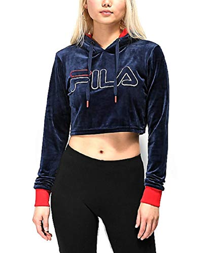 Fila Women's Antonella Crop Velour Hoodie Peacoat/Chinese Red M