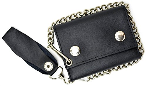 r Black Trifold Wallet with Chain Biker Trucker Motorcycle (Leather Tri Fold Chain Wallet)