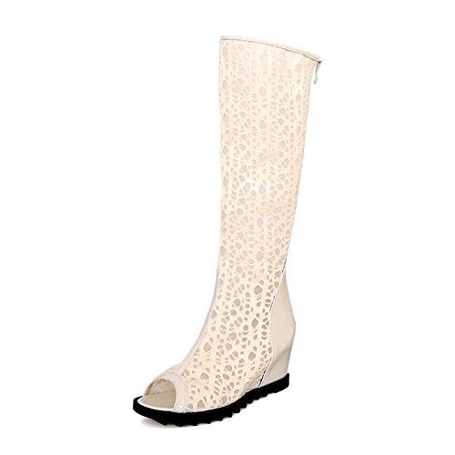 Style Beige Toe Peep Sandals Romanesque Polyurethane Adee Womens 0qEwUU