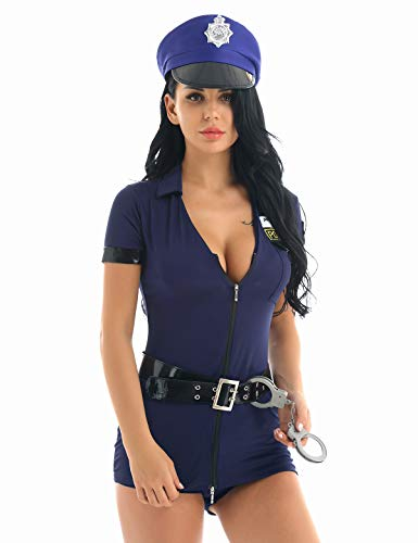 iEFiEL Women Sexy Halloween Dirty Cops Costume Policewoman Uniform Outfit Role Play Costume with Handcuffs and Hat Navy Blue Large]()