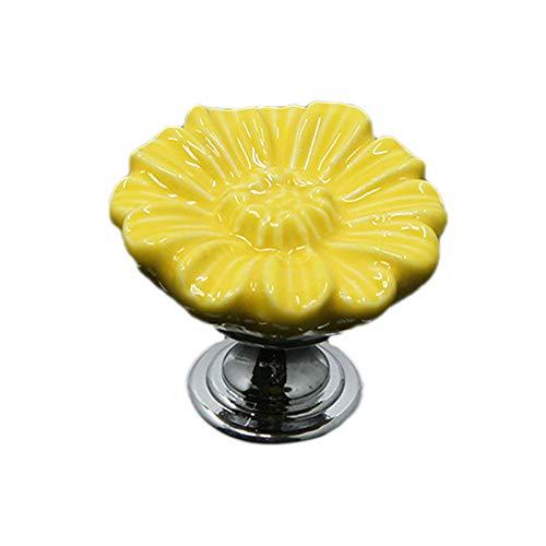 (Tiktalk Flower Drawer Knobs for Baby Nursery Kids Room Cupboard Wardrobe Cabinet, Handmade Cute Decorative Ceramic Dresser Knobs with Mounting Screws, Set of 6 (Yellow,Sunflower))