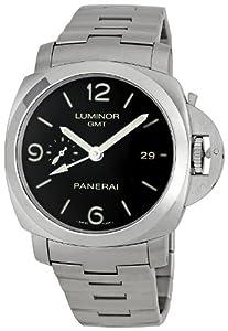 Panerai Men's PAM00329 Steel Luminor 1950 GMT Black Dial Watch