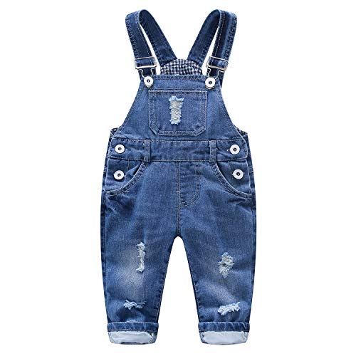 Kidscool Baby & Toddler Adjustable Ripped Fashion Jeans Overalls,Blue,18-24 Months