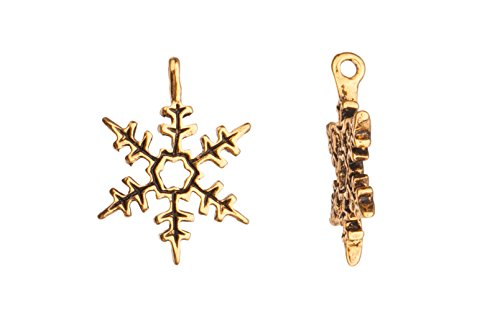 Snowflake 18K Antique-Gold Finished Charm 17X23.6mm sold per 6pcs/pack (3packs bundle), SAVE ()